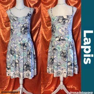 Drop waist cotton floral illustrated dress-Retro